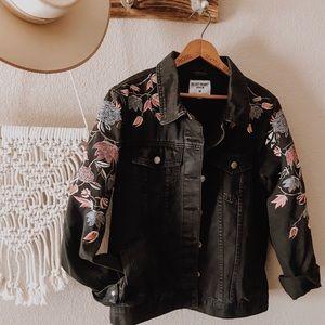 Embroidered black denim jacket